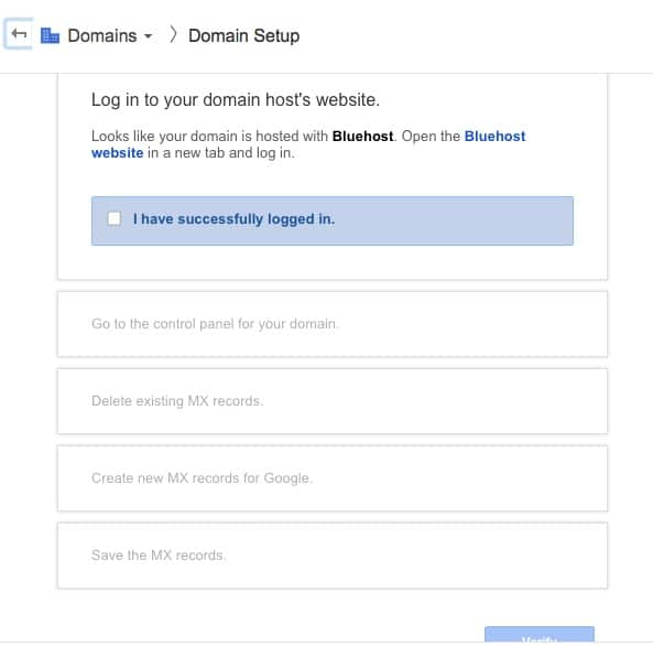 Google apps bluehost Domain setup