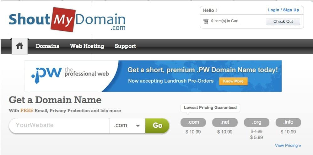ShoutMydomain Buy domain name