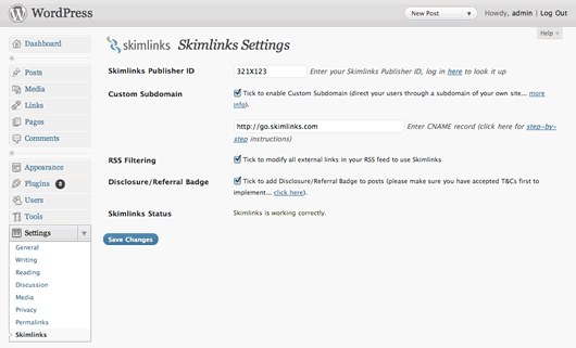 SkimLinks 5 Free WordPress Affiliate plugins