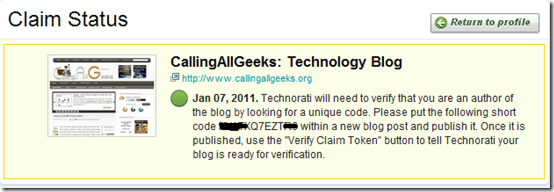 Claim blog technorati