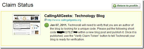 Claim blog technorati