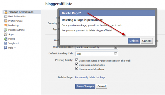 delete page confirmation 550x318 How to Delete Facebook Fan Page