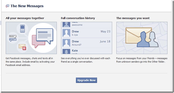facebookupgrade thumb Facebook New Email Messaging System: First look