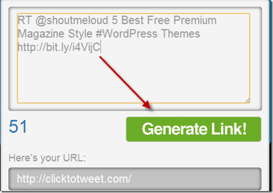 generatelinkclicktotweet thumb ClickToTweet: Send one Click Retweet Link [Social Media]