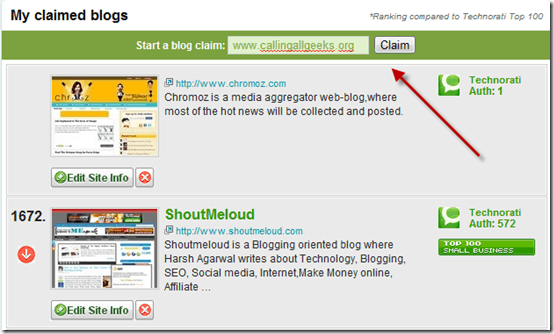 technoratiblogclaim thumb How to Submit Blog to Technorati?