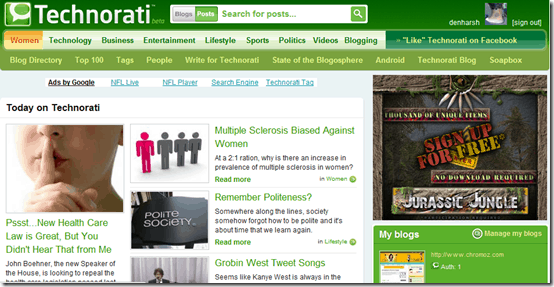 submit blog to Technorati