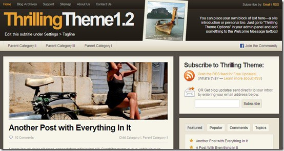 Thrilling WordPress theme