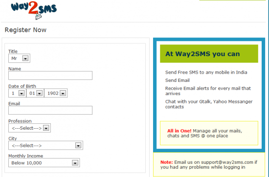 way2sms 550x363 How To Get SMS Alerts for Emails