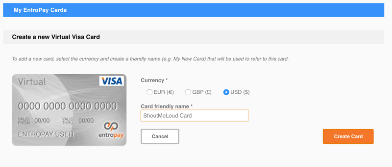 Create Entropay virtual credit card
