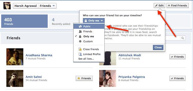 Facebook Friends Privacy setting