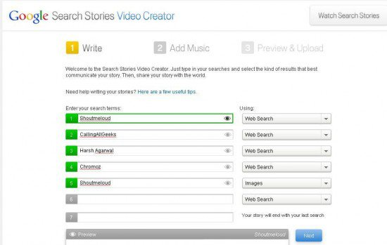 GSS Video Creator1 550x349 Google Search Stories : How To Make One?
