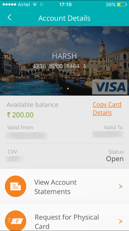 Pockets app by ICICI Bank virtual debit card