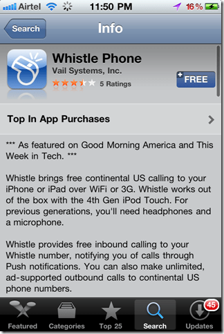 WhistleiPhoneapp thumb Whistle Phone: Unlimited Free Calls to U.S.A from iPhone & Mac