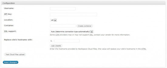 cdn settings 550x226 How To Boost Your Wordpress Blog With Rackspace Cloud Files!
