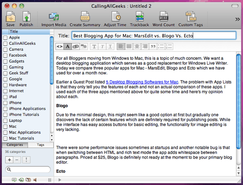 ecto screenshot Best Blogging App for Mac: MarsEdit vs. Blogo Vs. Ecto