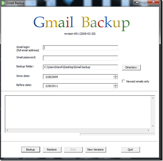 gmailbackupscreen thumb How to Use Gmail Backup to Take Back up of your Gmail Account Locally
