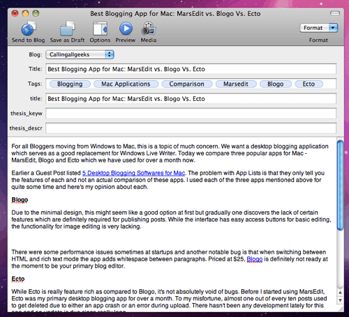 marsedit screenshot Best Blogging App for Mac: MarsEdit vs. Blogo Vs. Ecto