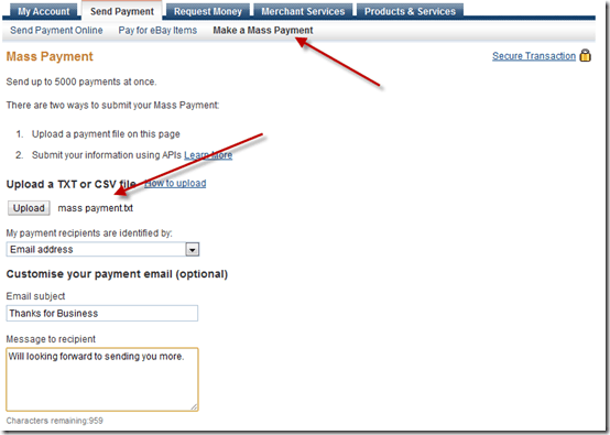 PayPal Mass Payment