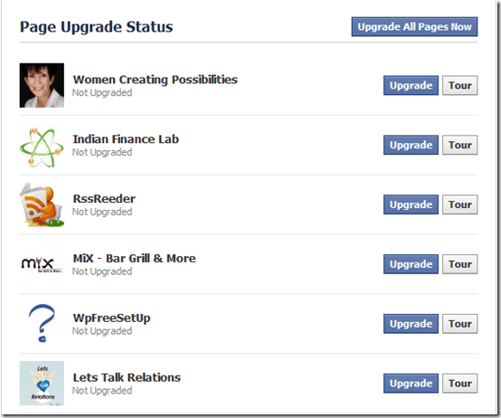upgradeallpages thumb Facebook Pages Upgraded Design to Give Facebook Profile Look