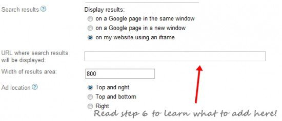 Adsense search steup 21 550x237 How to Create Google Adsense Search To Show Result Within Your Blog