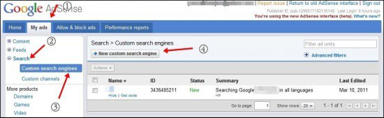 Adsense search1 550x169 How to Create Google Adsense Search To Show Result Within Your Blog
