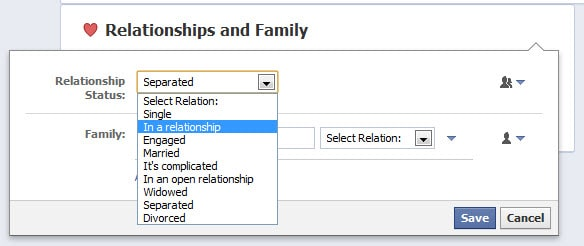 Fb relationship change