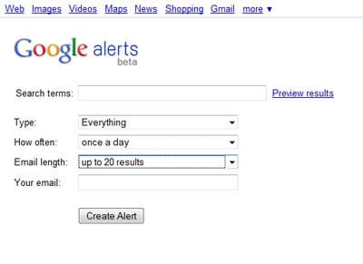 Google Alerts21 4 Useful Free Social Media Monitoring Tools