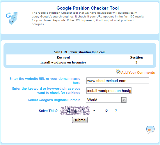 GooglePositionChecker 5 Excellent Websites to Check Google Keyword Ranking