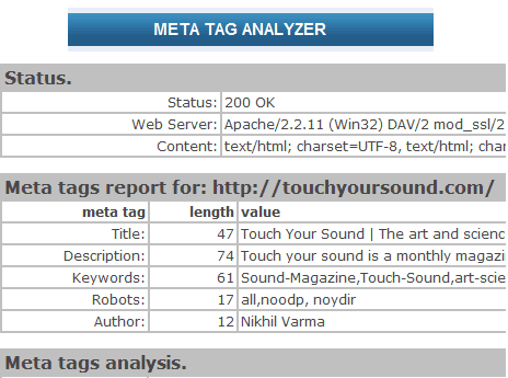 Meta tag Analyser How to use a Meta Tag Analyser while SEO