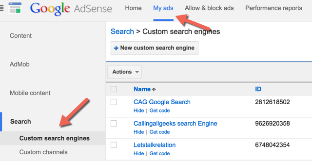 New Adsense Custom search