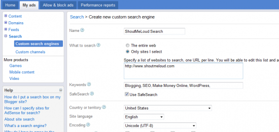 adsense search 550x261 How to Create Google Adsense Search To Show Result Within Your Blog