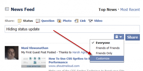 customize statu update 550x275 How to Hide FB Status Updates from Particular Friend on Facebook