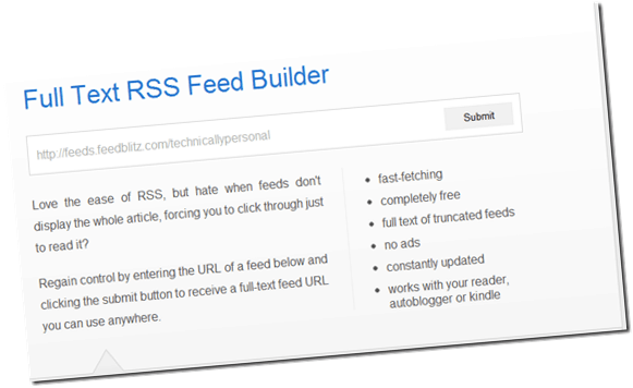 partialrssfullrssconverter thumb FullTextRSSFeed: Easily Convert Partial Post Feeds into Full Post Feeds