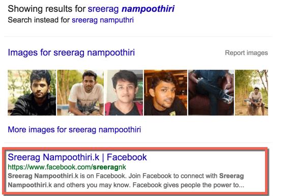 Facebook profile in Google Search