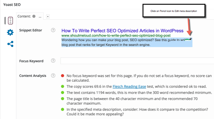 SEO optimized blog post WordPress