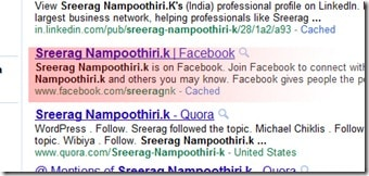 Preview of my Facebook search result in Google.
