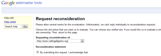 google webmaster reconsideration request 550x194 How to Recover from Google Panda Effect