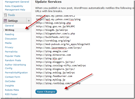 wordpresspingservices thumb WordPress Ping List for Faster Indexing Of New Post