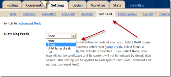 Blogspotpartialfeed thumb Why You Should Offer Partial Feeds after Google Panda Update