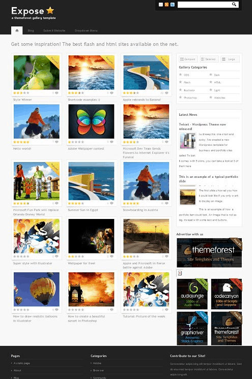 Expose wp theme 5 Premium Wordpress Gallery Themes