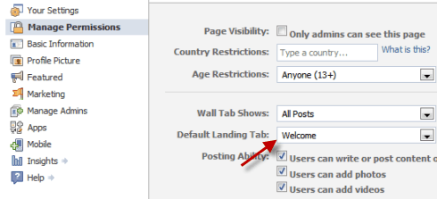 Facebook Fan Page - Setting up tab as default