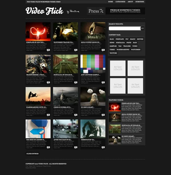 videoflick 5 Premium Wordpress Gallery Themes