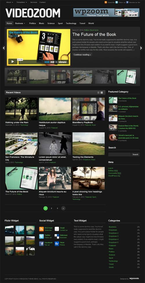 videozoom wordpress theme 5 Premium Wordpress Gallery Themes