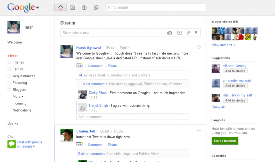 Google+ Homepage Screenshot 550x324 Google+ Social Networking Site: First Impression