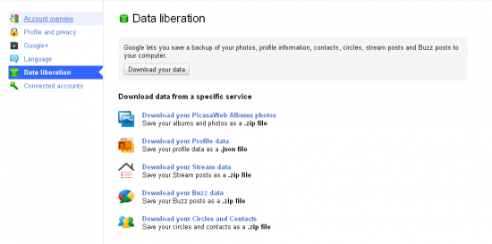 Google+ data liberation 550x273 Google+ Social Networking Site: First Impression