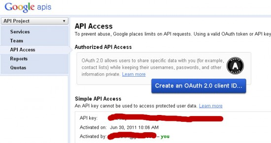 Google API Key 550x291 How to Integrate Google Page Speed with W3 Total Cache