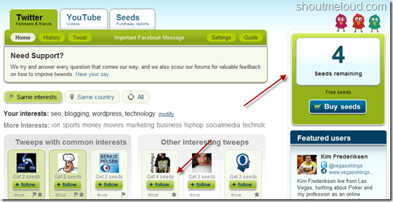 TwiendsSeeds thumb Twiends : Twitter Follower Exchange Program to grow Twitter Followers