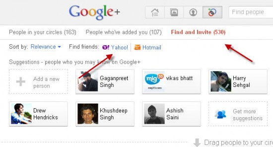 Yahoo Google+ 550x296 How to Invite all Your Facebook Contacts to Google+