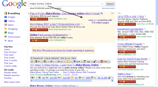 entering keyword in google and checking no. of results 550x305 Why You Cant Rank For Keyword Make Money Online