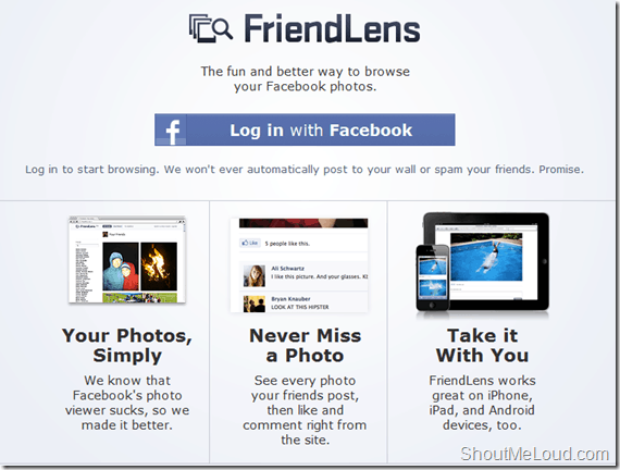 FriendLens: Cool way to Browse Facebook Photos